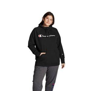 Champion Plus Size Women& 39;s Champion Women& 39;s Plus Powerblend Fleece Hoodie, Script Logo by Champion in Black (Size 2X)