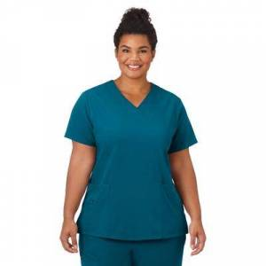 Jockey Encompass Scrubs Plus Size Women& 39;s Jockey Scrubs Women& 39;s Favorite V-Neck Top by Jockey Encompass Scrubs in Caribbean (Size L)