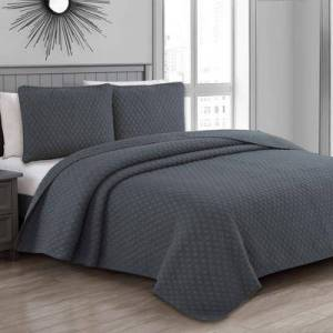 American Home Fashion Estate Collection Fenwick Quilt Set by American Home Fashion in Charcoal Gray (Size KING)