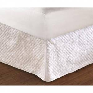 """Greenland Home Fashions """"Greenland Home Fashions Diamond Quilted Bed Skirt 18"""""""" by Greenland Home Fashions in White (Size FULL)"""""""