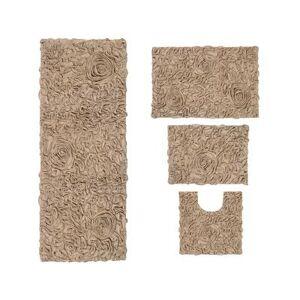 Home Weavers Inc Bellflower 4-Pc. Bath Rug Set Ivory by Home Weavers Inc in Linen (Size 4 RUG SET)