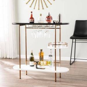 BrylaneHome Dagney Wine/ Bar Table with Glassware Storage by BrylaneHome in Black