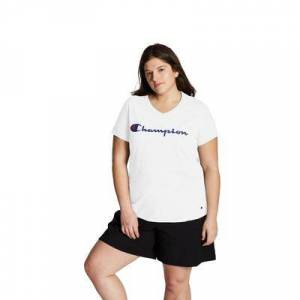 Champion Plus Size Women& 39;s Jersey V-Neck Tee Graphic-Classic Script by Champion in White (Size 1X)