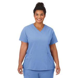 Jockey Encompass Scrubs Plus Size Women& 39;s Jockey Scrubs Women& 39;s Favorite V-Neck Top by Jockey Encompass Scrubs in Blue (Size XL)