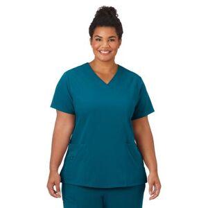 Jockey Encompass Scrubs Plus Size Women& 39;s Jockey Scrubs Women& 39;s Favorite V-Neck Top by Jockey Encompass Scrubs in Caribbean (Size 2X)