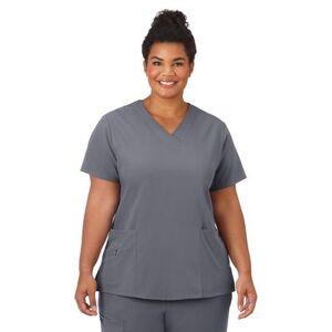 Jockey Encompass Scrubs Plus Size Women& 39;s Jockey Scrubs Women& 39;s Favorite V-Neck Top by Jockey Encompass Scrubs in Pewter (Size L)