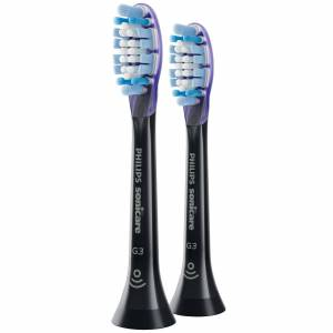 Philips - Toothbrush Heads Sonicare G3 Premium Gum Care Standard Sonic Toothbrush Heads Black x 2 HX9052/33 for Men and Women