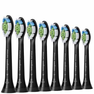Philips - Toothbrush Heads Sonicare W2 Optimal White Standard Sonic Toothbrush Heads Black x 8 HX6068/13 for Men and Women