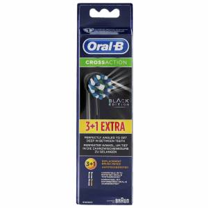 Oral-B - CrossAction Replacement Heads Black Edition 3+1 Pack for Men and Women