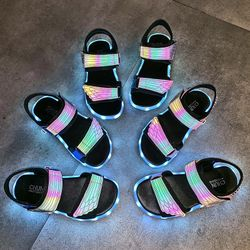 UncleJerry Children Sandals USB Charging Light up Shoes for Child Glowing Summer Sandal for Boys and Girls Fashion Kid Shoes