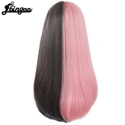 EbingooPink and Black Wig Long Straight hair Cosplay Wig Two Tone Ombre Color Women Synthetic Hair Wigs