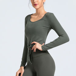 Women's Seamless Long Sleeve Sport Shirt Front Tie Profession Yoga Clothing Quick Drying Breathable Fitness Top Skinny Gym Tops
