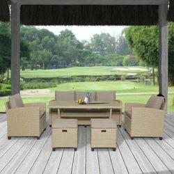 Wicker Pation Furniture Set Garden Sofa Set For Outdoor Backyard Set Furniture Drop Shipping