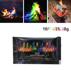 10g/15g/25g/30g Magic Fire Colorful Flames Powder Bonfire Sachets Pyrotechnics Magic Trick Outdoor Camping Hiking Survival Tools