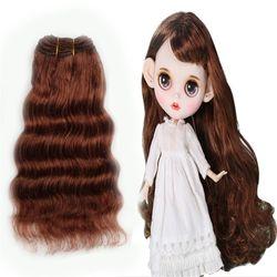 16cm Wool Hair Extensions Hair Wefts Khaki Pink Black Deep Wave Doll Hair Wigs for BJD/SD/American Doll DIY Handmande Doll Wigs