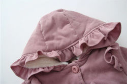 Winter Baby Girls Corduroy Outerwear Thick Warm Hooded Coats Plus Velvet Cotton Solid Bowknot Jackets Outfit 6M-3Y