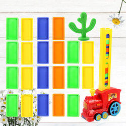 Funny Domino Educational Toy Electric Small Train Toy Electric Domino Train Toy Educational DIY Domino Automatic Licensing Stand