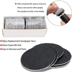 Electronic Foot File Callus Remover Tool Speed Adjustable Electric Foot File with 60 Pcs Replacement Sandpaper Discs Pedicure To