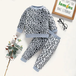 Long Sleeve Sets Free Shipping Toddler Girl/Boy Clothes Long Sleeve Dots Print Warm Comfy Velour Kids Winter Outfits Pajamas