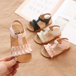 SKHEK Baby sandals girls summer new comfortable casual children's non-slip elastic beach sandals fashion baby princess shoes