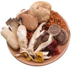 bacteria each goods in clay pot soup, soup specialty dried fungus mushroom fresh mushrooms in yunnan mountain tricholoma