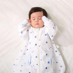 Gauze Print quilt ear sleeping bag Children's long-sleeve split leg double-sided cartoon baby anti-kicking