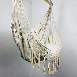 Macrame Lounging Hanging Rope Hammock Chair Porch Swing Seat for Indoor & Outdoor Garden Patio Yard Bedroom
