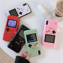 Retro 36 Game Boy Phone Case for iPhone 11 Pro 6 6s 7 8 Plus X XS XR Max Gameboy Case Color Screen Cover Pink White Dinosaur