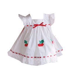 2020summer New Custom Vintage Baby Cotton Suit Cherry Embroidered Princess Dress Girls Christmas Outfit Boutique Kids Clothing