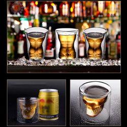 Creative Cute Bear Double-layer Coffee Mug Double Glass Cup Skull Lady Glass Cute Gift Christmas Gift