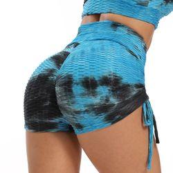 New Tie-Dye Print Drawstring Yoga Shorts Women Spandex Jacquard Shorts Workout Tight Shorts Running Sport Fitness Skinny Shorts