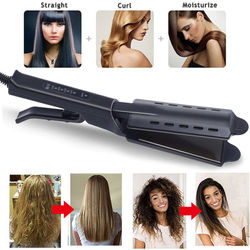 Hair Straightener & Curler 1inch Professional Flat Iron with Extra Long Titanium Plate Smooth Glider Makes Hair Silky Shine