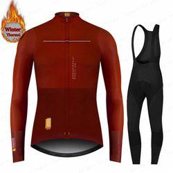 2021 New Spain Winter Thermal Fleece Long Sleeve Jersey Men's Ropa Ciclismo Cycling Set MTB Cycling Clothing Bib Pants Set