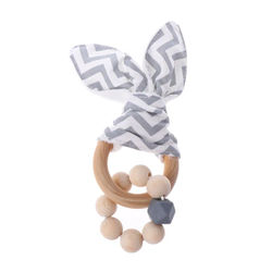 Christmas Baby Boy Bunny Ear Teether Safe Organic Wood Teething Ring 7 Color Choice Shower Gifts R2JF
