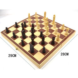 Chess Set Wooden Chess Game Backgammon Checkers Indoor Travel Chess Wooden Folding Chessboard Chess Pieces Chessman