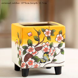 Flower Pots Succulent Cactus Yellow Painting Pots Plant Garden Ceramic Planter Pots Outdoor Garden Home Decor windowsill