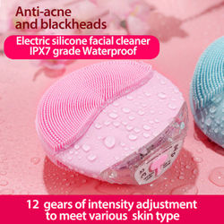 Ultrasonic Electric Silicone Facial Cleansing Face Washing Brush Sonic Skin Cleansing Blackhead Remover Pore Cleanser Massage