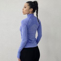 SALSPOR Women Yoga Shirts Fitness Zipper With Thumb Running Sportwear Qucik Dry Gym Shirts Sport Trainning Yoga Shirts Female