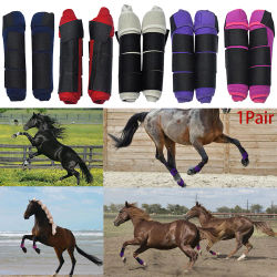 1 Pair Training Washable Magic Sticker Horse Adjustable Protective Gear Equestrian Riding Leg Guards High Elastic Cloth Outdoor
