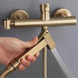 Eocony Brushed Gold Soild Brass Toilet Sprayer Set Hot And Cold Water Mixer European Hygienic Square Hand Bidet Shower