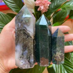 Natural Water Plant Agate CrystalQuartz Obelisk Reiki Healing Home Furnishings Room Decoration Gemstones 8-10 Cm