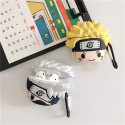 Case for AirPods Cartoon Earphone Case for Apple Airpods 2 Cute Accessories Protect Cover with Keychain 3D Naruto Anime Kakashi