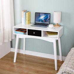 Modern Removable Multi-purpose Workbench Tables Office Bedroom Study Bedside White Shelves Workbench Computer Desks HWC