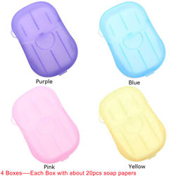 4 Box Portable Disposable Soap Paper Whitening Exfoliating Mini Outdoor Travel Camping Hiking Tools Wash Clean Hands Heath Care