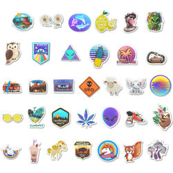 80 Pcs Vaporwave Stickers VSCO Girl Animals Climbing Neon Light Anime Sticker Decal for Laptop Luggage Bicycle Skateboard Toy