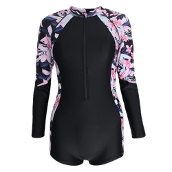 Professional sports one piece flat angle swimsuit for women conservative belly covering and slim student long sleeve swimwear