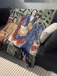 Casual Blankets Carpet Decoration Guitar woman Matisse Carpet Sofa Leisure Carpet Single Tapestry Sofa Blanket Throw Blankets