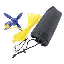 Foldable Anchor 4 Tines Aluminum Compact Anchor Buoy Kit Bag Marine Rope For Canoes Kayaks Sailboats