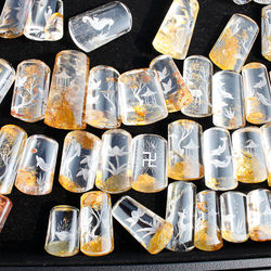 1 Pcs Yellow Color Added Natural Ghost Phantom Quartz Crystal Inner Carved Pendant