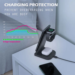 FDGAO Qi 15W Fast Charge 3 In 1 Wireless Charger Station Dock Stand For iPhone 11 XS XR X 8 Apple Watch SE 6 5 4 3 Airpods Pro